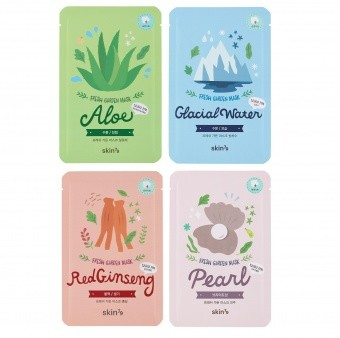 SKIN79 Set of 4 Fresh Garden Mask Aloe, Pearl, Glacial Water, Red Ginseng
